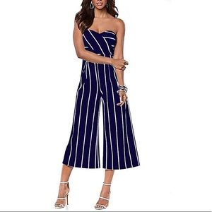 Pants - NWOT Navy striped strapless jumpsuit